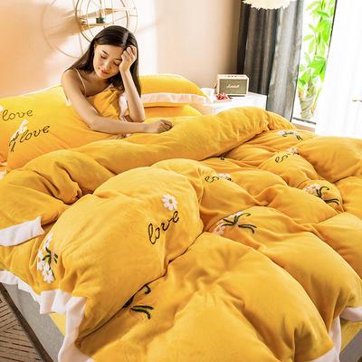 2019新款小雏菊毛巾绣牛奶绒四件套 1.8m床单款 小雏菊  靓丽黄