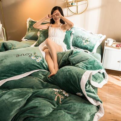 2019新款小雏菊毛巾绣牛奶绒四件套 1.8m床单款 小雏菊  抹茶绿