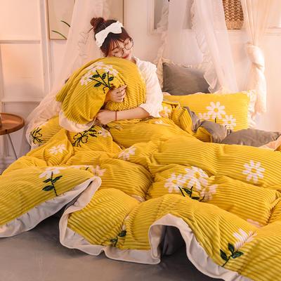 2019新款韩版魔法绒印花四件套 1.2-1.35m床单款三件套 雏菊芬芳