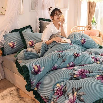2019新款韩版魔法绒印花四件套 1.5-1.8m床单款 花开-兰