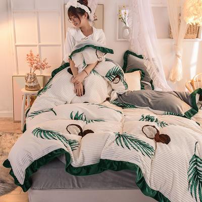 2019新款韩版魔法绒印花四件套 1.5-1.8m床单款 热带一族