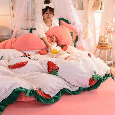 2019新款韩版魔法绒印花四件套 1.5-1.8m床单款 甜心