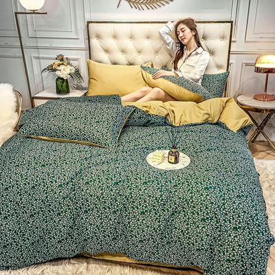 2020新款天丝绸印花四件套 床单款(1.5-1.8米床)被套四件套 巴塞-绿