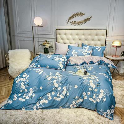 2020新款天丝绸印花四件套 床单款(1.5-1.8米床)被套四件套 花漾人生-蓝
