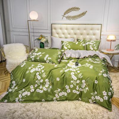 2020新款天丝绸印花四件套 床单款(1.5-1.8米床)被套四件套 花漾人生-绿