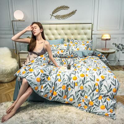 2020新款天丝绸印花四件套 床单款(1.5-1.8米床)被套四件套 橘子树