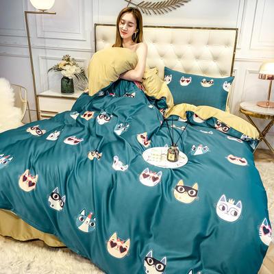 2020新款天丝绸印花四件套 床单款(1.5-1.8米床)被套四件套 猫侠
