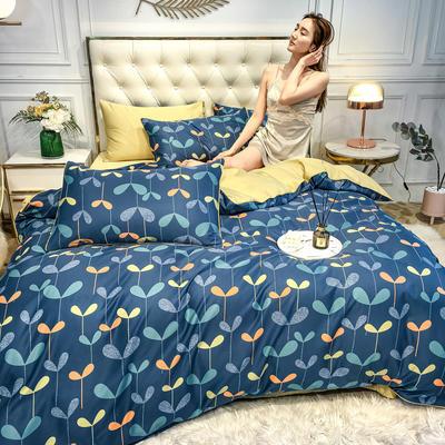 2020新款天丝绸印花四件套 床单款(1.5-1.8米床)被套四件套 萌芽