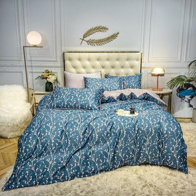 2020新款天丝绸印花四件套 床单款(1.5-1.8米床)被套四件套 树影