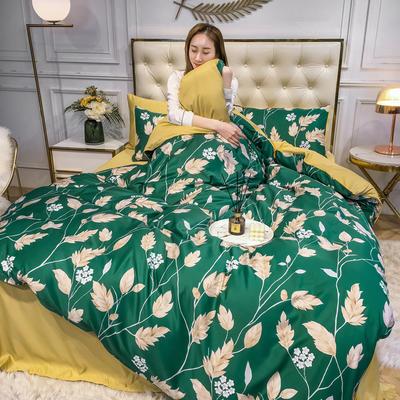 2020新款天丝绸印花四件套 床单款(1.5-1.8米床)被套四件套 夏至