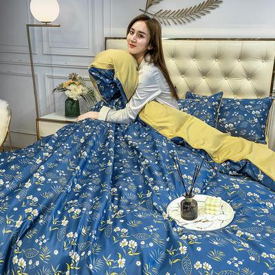 2020新款天丝绸印花四件套 床单款(1.5-1.8米床)被套四件套 幸福花海-兰