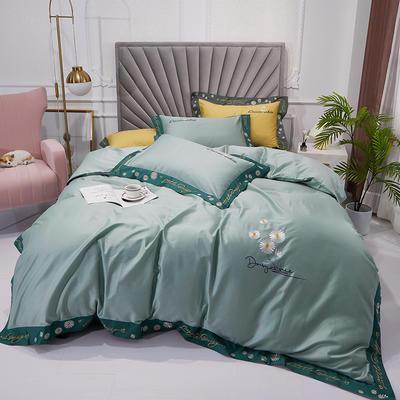 2020新款60S长绒棉绣花四件套 1.5m床单款四件套 雏菊芬芳-浅绿