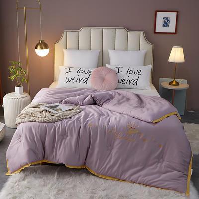 2020新款60s天丝鎏金鹿天丝绣花被被子被芯 200X230cm(8斤) 香芋紫