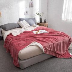法莱绒+羊羔绒毛毯双层纯色毛毯法莱绒加厚保暖 200x230cm 爵士灰