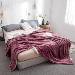 映爽家纺 法莱绒+羊羔绒毛毯双层纯色毛毯法莱绒加厚保暖 200x230cm 豆沙蜜