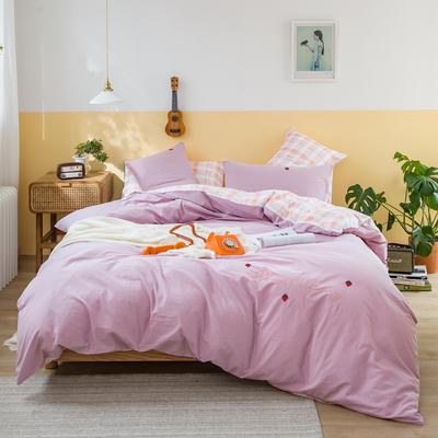 2020秋冬新款全棉水洗棉刺绣印花四件套 1.8m床单款四件套 罗拉-紫