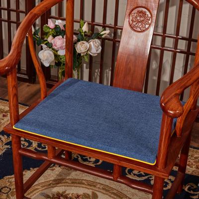 2020新款亚麻纯色坐垫系列 中式坐垫 40x40x2cm 藏蓝