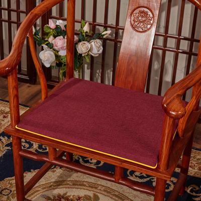 2020新款亚麻纯色坐垫系列 中式坐垫 40x40x2cm 红色