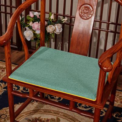 2020新款亚麻纯色坐垫系列 中式坐垫 40x40x2cm 湖蓝