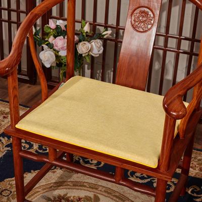 2020新款亚麻纯色坐垫系列 中式坐垫 40x40x2cm 黄色
