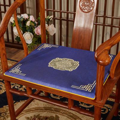 2020新款冰丝印花坐垫系列 中式太师椅坐垫 45x40x3cm 福禄藏蓝