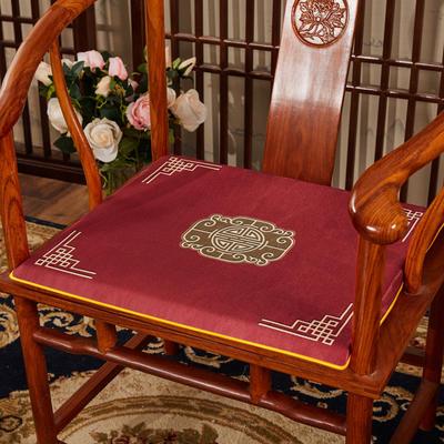 2020新款冰丝印花坐垫系列 中式太师椅坐垫 45x40x3cm 福禄红