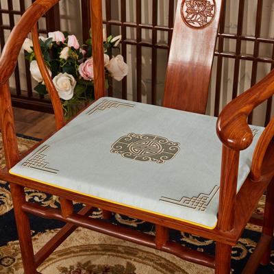 2020新款冰丝印花坐垫系列 中式太师椅坐垫 45x40x3cm 福禄灰色