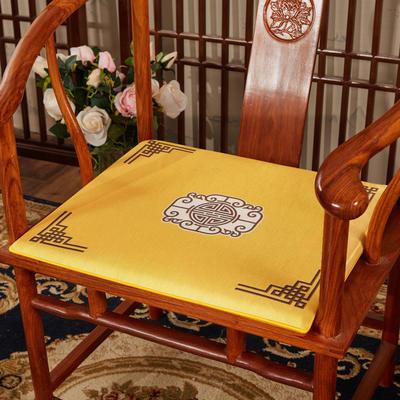2020新款冰丝印花坐垫系列 中式太师椅坐垫 45x40x3cm 福禄亮黄