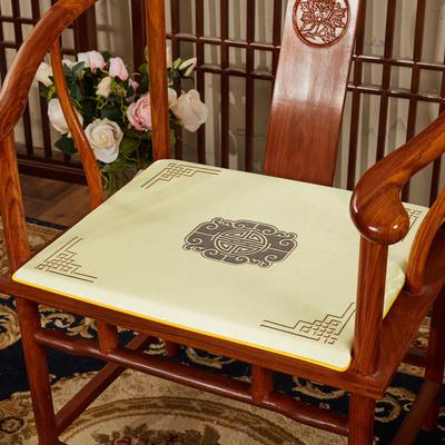 2020新款冰丝印花坐垫系列 中式太师椅坐垫 45x40x3cm 福禄米色