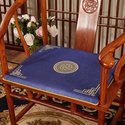 2020新款冰丝印花坐垫系列 中式太师椅坐垫 45x40x3cm 富贵藏蓝
