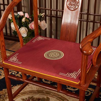 2020新款冰丝印花坐垫系列 中式太师椅坐垫 45x40x3cm 富贵红