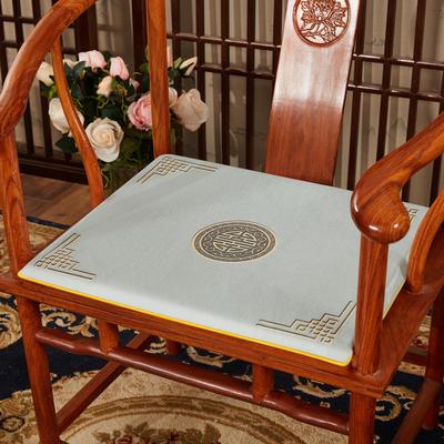 2020新款冰丝印花坐垫系列 中式太师椅坐垫 45x40x3cm 富贵灰色