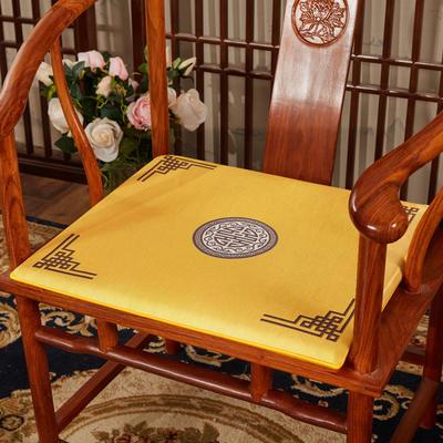 2020新款冰丝印花坐垫系列 中式太师椅坐垫 45x40x3cm 富贵亮黄