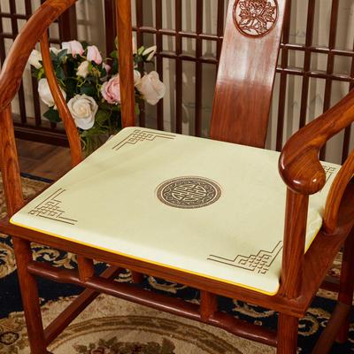 2020新款冰丝印花坐垫系列 中式太师椅坐垫 45x40x3cm 富贵米色