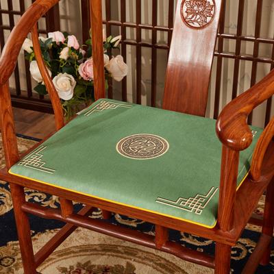 2020新款冰丝印花坐垫系列 中式太师椅坐垫 45x40x3cm 富贵墨绿