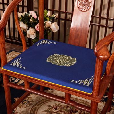 2020新款 麻布印花坐垫系列 太师椅垫 富贵福禄 45x40x3cm 福禄-藏蓝