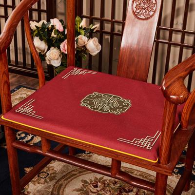 2020新款 麻布印花坐垫系列 太师椅垫 富贵福禄 45x40x3cm 福禄-大红
