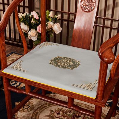 2020新款 麻布印花坐垫系列 太师椅垫 富贵福禄 45x40x3cm 福禄-灰色