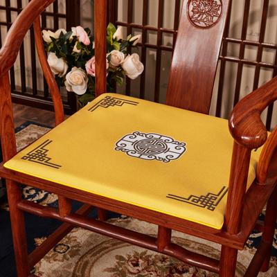 2020新款 麻布印花坐垫系列 太师椅垫 富贵福禄 45x40x3cm 福禄-亮黄