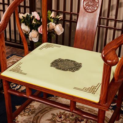 2020新款 麻布印花坐垫系列 太师椅垫 富贵福禄 45x40x3cm 福禄-米色