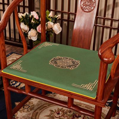 2020新款 麻布印花坐垫系列 太师椅垫 富贵福禄 45x40x3cm 福禄-墨绿