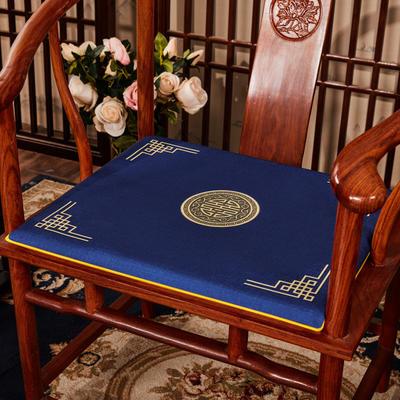2020新款 麻布印花坐垫系列 太师椅垫 富贵福禄 45x40x3cm 富贵-藏蓝