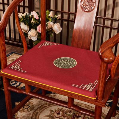 2020新款 麻布印花坐垫系列 太师椅垫 富贵福禄 40x40x2cm 富贵-大红