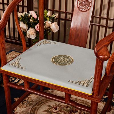 2020新款 麻布印花坐垫系列 太师椅垫 富贵福禄 40x40x2cm 富贵-灰色