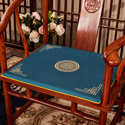 2020新款 麻布印花坐垫系列 太师椅垫 富贵福禄 40x40x2cm 富贵-兰