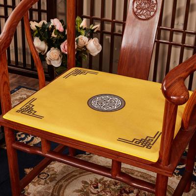 2020新款 麻布印花坐垫系列 太师椅垫 富贵福禄 40x40x2cm 富贵-亮黄