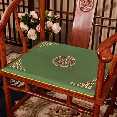 2020新款 麻布印花坐垫系列 太师椅垫 富贵福禄 45x40x3cm 富贵-墨绿