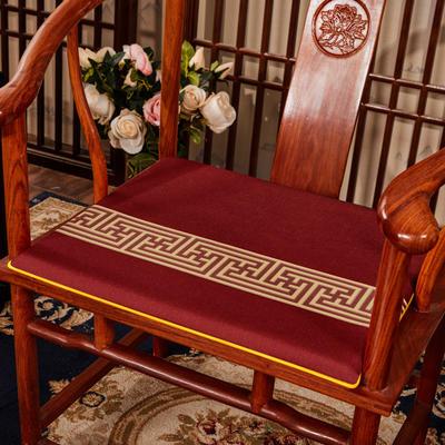 2020新款 麻布印花坐垫系列 太师椅垫 回纹花 40x40x2cm 回纹花-红色