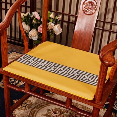 2020新款 麻布印花坐垫系列 太师椅垫 回纹花 45x40x3cm 回纹花-黄色