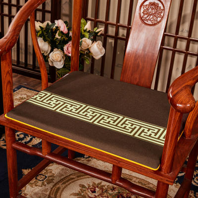 2020新款 麻布印花坐垫系列 太师椅垫 回纹花 45x40x3cm 回纹花-咖色